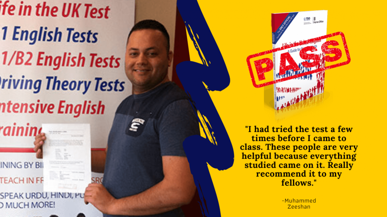 Life in the Uk test student has passed his exam by practicing