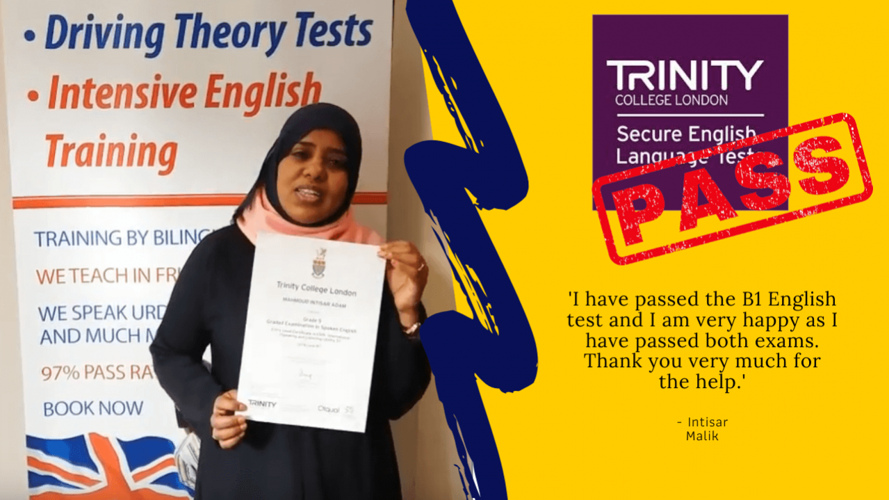 British citizenship has been achieved with passing the b1 english test with trinity college london