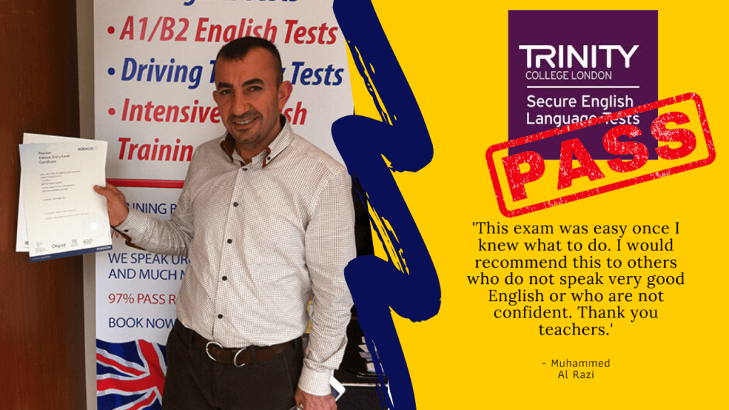 student passes their b1 english test with trinity college london