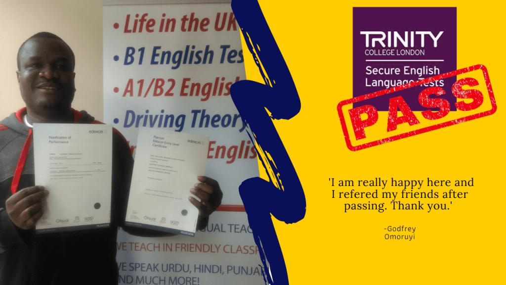 Passed the Trinity college london passed exam
