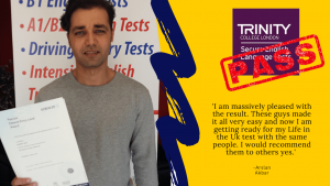 B1 English test passed by student for british citizenship