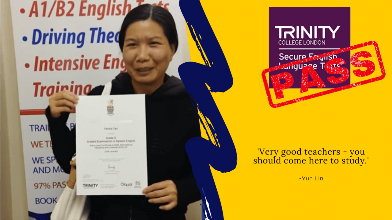 Student has passed her b1 english test with trinity college london
