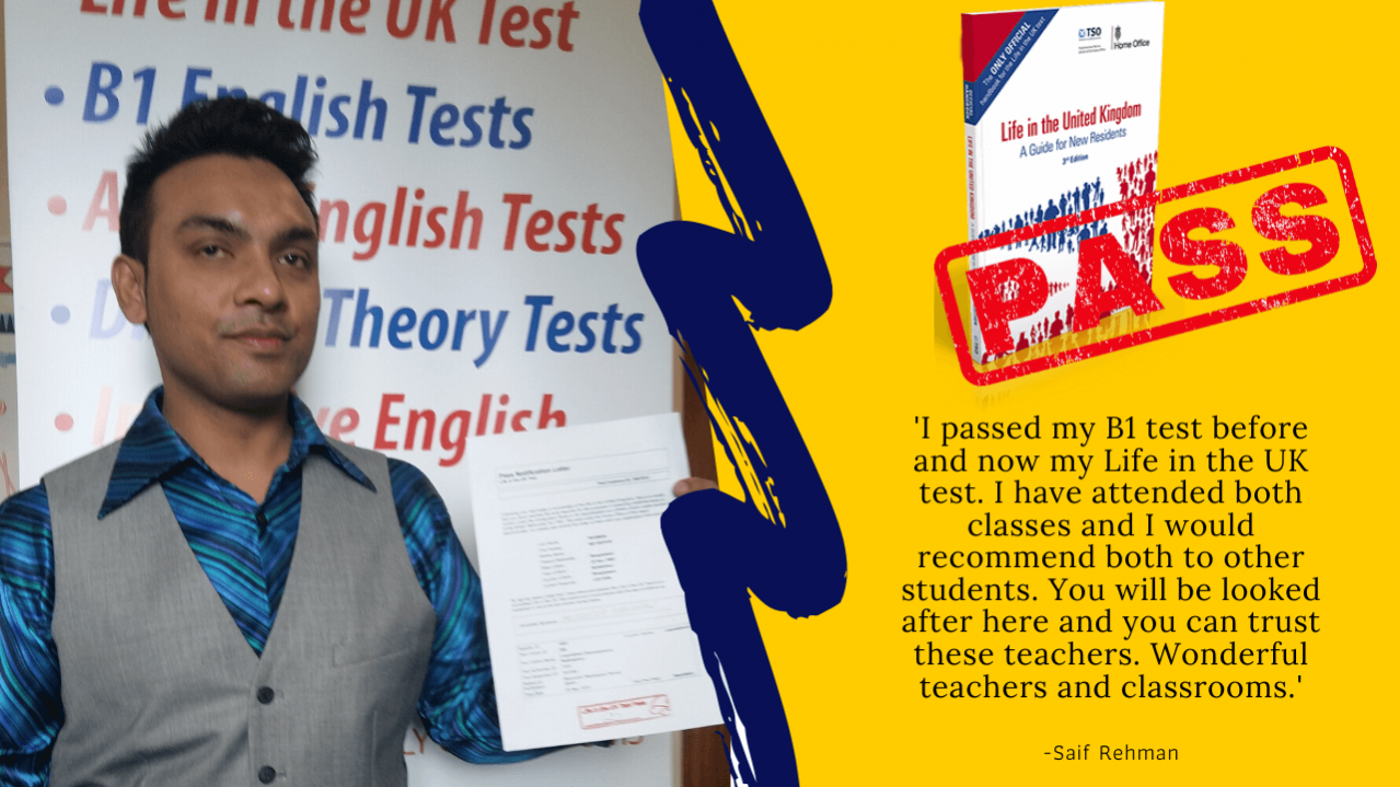 Student has passed the life in the UK test online with a teacher