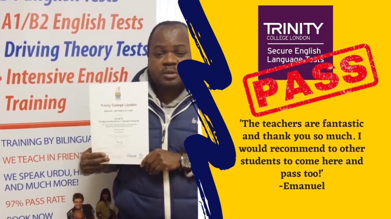 Emanuel has passed his b1 test online